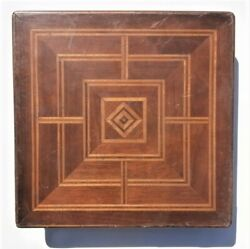 Antique Wood Game Box Nine Men's Morris Board Parquetry Puzzle Drawers Masonic