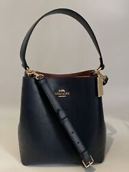 Coach TOWN BUCKET BAG Signature Leather Perforated Navy honey oxblood $450 MINT $145.50