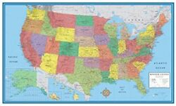 24x36 United States USA Classic Elite Wall Map Mural Poster Paper Rolled