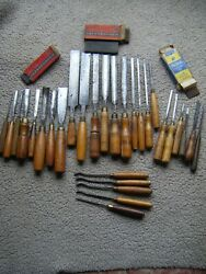 Assorted Lot Of 29 Vintage Wood Carving Chisels.
