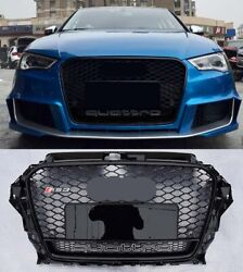 For Audi A3 S3 8v Rs3 Style Front Grille Black Mesh Frame Quattro Rings 14-16