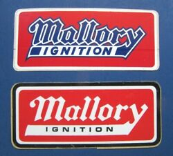 2 Lot MALLORY IGNITION Vintage Decals Genuine Not Reproductions Mint