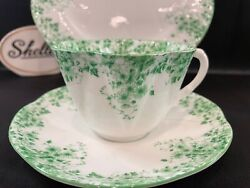 Shelley Dainty Green Daisy 053 Cup Saucer And 8 Plate Green Trim