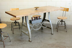Vtg Antique Industrial 6and039 Dining Table Desk Butcher Block Cast Iron Legs 1920s
