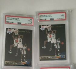 Lot Of 2 1992-93 Upper Deck 1 Shaquille Oand039neal Rc Rookie Card Draft Pick Psa 9