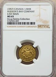 Canada - 1857 Hudsonand039s Bay Co East Main 1/8 Made Beaver Ngc Ms65 Token Rrr