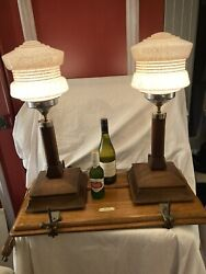 Pair Of Large Art Deco Mahogany Table Lamps With Shades
