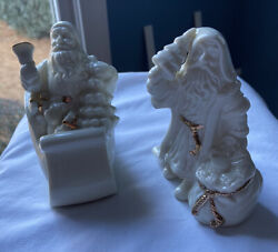 Pair Of Lenox Porcelain Santa Figurines With Gold Accents