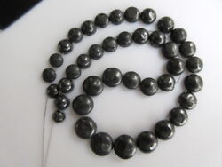 20 Pieces Button Shaped Smooth Flat Back Drilled Gray Black Raw Diamond Dds502
