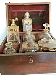Antique French Scent Raised Gold Glass Bottlemaybe St Louistravel Wood Casket