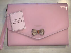 Ted Baker Bow Envelop Pouch Clutch Wristlet Pink w Rose Gold bow New NWT $38.00