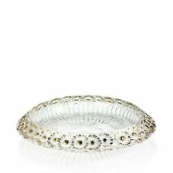 Lalique Marguerites Bowl Clear Crystal Gold Stamped 10205300 New