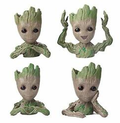 4 Pack Cute Baby Groot Flowerpot Tree Man Planter Flower Pot With Drainage Hole