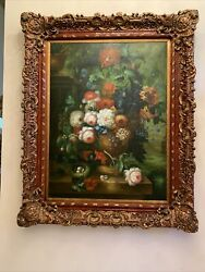 """Vertical Still Life With Flower, Wall Decoration, Vintage Over Sized 50"""" X 61"""""""