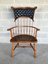 Antique Duckloe Brothers Mystic Seaport Windsor Leather Back Arm Chair