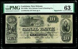 1850s New Orleans Louisiana 10 Canal Obsolete Bank Note Pmg Choice Unc 63