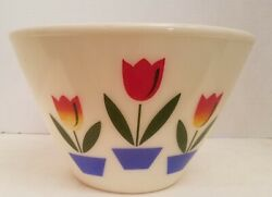 Fire King Oven Ware Tulip Pattern Mixing Bowl Anchor Hocking Glass Wear 9 1/2