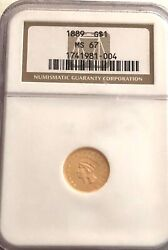 Look_____1889- Ngc Ms-67 U.s. Gold 1.00 Coin- See Other Gold Coins Jewelry