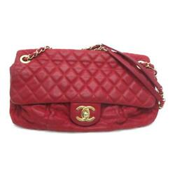 Auth Quilted Cc Ghw Chic Quilt Flap Shoulder Bag Lambskin Red 9955