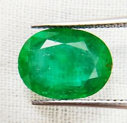 Natural Emerald Oval 6.43cts Igi Certified Minor Sparky Zambian Loose Gemstone