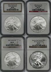 Lot 4 Mix Date - 2006-w 2006 2007 2011s Silver Eagle Dollar 1 Ms 69 Ngc