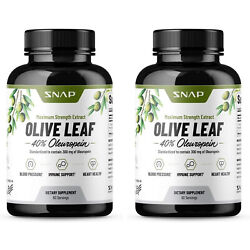 Olive Leaf Extract Capsules 40 Oleuropein - Blood Pressure Supplement - 2 Pack