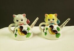 Vintage Py Japan Salt And Pepper Shakers Cat Teapot Pansy Hand Painted