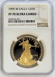 1995 W Gold 50 American Eagle 1 Oz Proof Coin Ngc Pf 70 Ultra Cameo