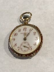 Antique And Co Ladies 18k Gold Red Enamel And Seed Pearl Pocket Watch
