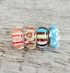 Authentic Trollbeads Glass Bead Charms Lot Of 4 Unique And Beautiful Universal Sz