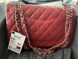 NWT Authentic CHANEL Classic Medium Double Flap Bag Red Caviar $7200.00