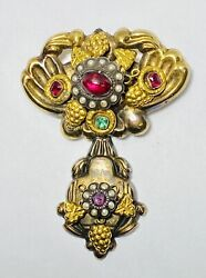 Antique India 14k Yellow Gold 1.06ct Ruby Emerald Natural Seed Pearl Brooch 10g