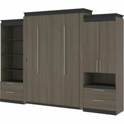 Bestar Orion 124 Queen Murphy Bed And Storage With Drawers In Bark Gray