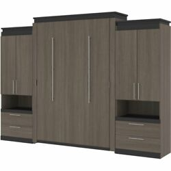 Bestar Orion 124 Queen Murphy Bed With 2 Storage Cabinets In Bark Gray