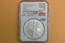 2008-w Burnished Silver Eagle Ngc Ms 70 Mike Castle Hand Signed Ace Verified