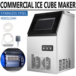 Us Commercial Grade Ice Maker 90lbs/24h Automatic Clear Cube Ice Making Machine
