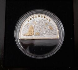 Cook Islands Silver Proof Half Circle 5 Coin 2010 Year Km1429 Christmas Domini