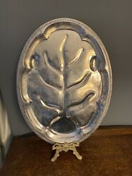 Antique Silver Plated Engraved Meat / Food Tray Platter