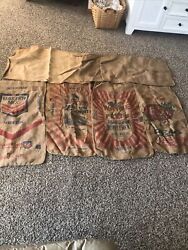 Lot Of 7 Vintage Feed Seed Bags Sacks Canvas Cloth Plain And Some Markings