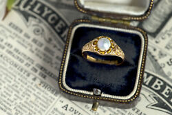 Antique English 15k Gold Certified Natural Freshwater Pearl Solitaire Ring C1913