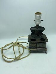 Cast Iron Acme Cook Stove Table Lamp Salesman Sample Vintage Tested And Works
