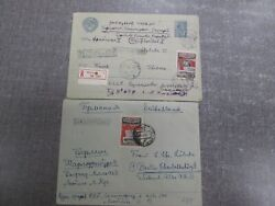 82 Russia To Germany Ddr Two Stamp Two Cover 50 Years Iskra Pravda1951