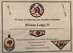 Oa Lodge 35 Mint 75th Anniversary 4 Miniature Official Patches On Document