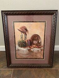 Homco Vintage Hat Clock Books Picture By J. Gibson Home Interiors Framed Europe