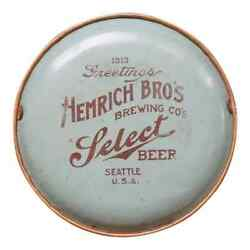 Hemrich Bro's Brewing Co Select Beer Seattle 1913 Antique Tray Advertising