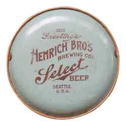 Hemrich Broandrsquos Brewing Co Select Beer Seattle 1913 Antique Tray Advertising