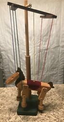 wooden Marionette Horse With Stand Hand Made 20 Inch Tall With Stand