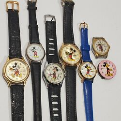 Lot Of 7 Vintage Disney Mickey Minnie Mouse Watches, Swiss, Lorus For Parts Only