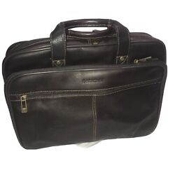 Heritage Leather Computer Briefcase Travel Bag 16x12 Inches