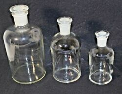 Vintage Pyrex Lab Apothecary Bottle With Ground Glass Stopper Set Of Three
